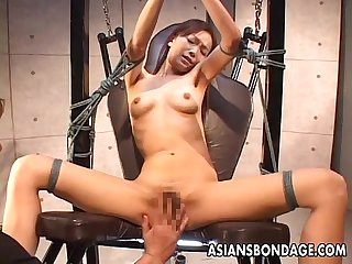 Bdsm treated asian with sexy lingerie sucking and titty fucking