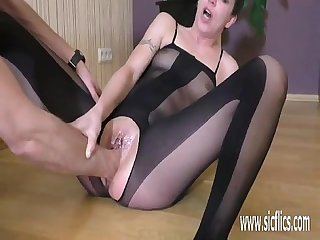 Brutal fisting makes her squirt in orgasm