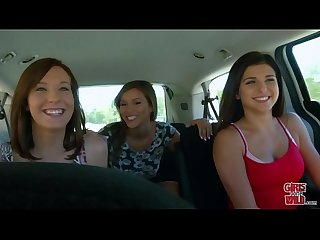 Girls gone wild in a cab game show with three young babes