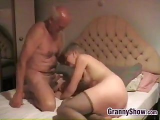 Grandma giving her man a great blowjob