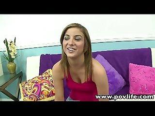Povlife sexy brunette Katie king pov blowjob sex