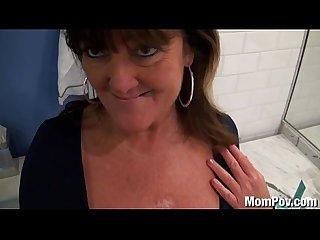 Huge natural tits milf behind the scenes bj