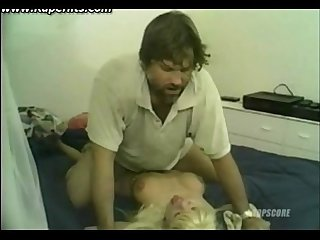 Blonde girl brutally fucked by hairy man
