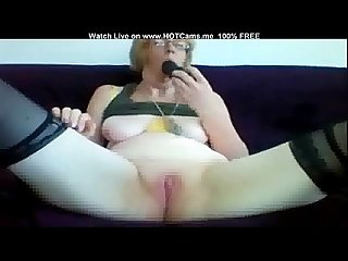 Freaky Mature Blonde With Glasses Dildo Play