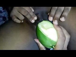 Bhabhi playing with herself using green mango