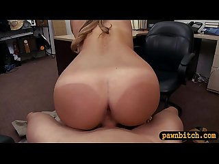 Curvy babe pawns her pussy and gets fucked by pawn dude