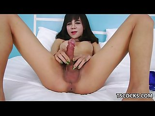 Big titted ladyboy cumming