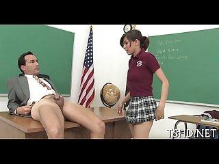 Large man drills schoolgirl