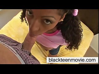 Barely legal 18 yr old cute black teen babe taking white dick in teen video