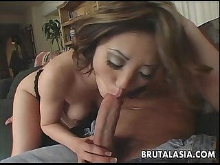 Asian cock gobbler sucking on a fella then fucking him