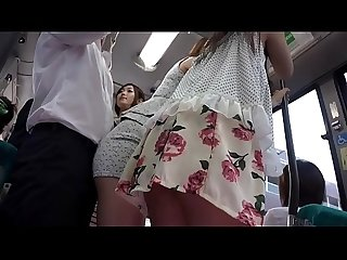 Asian babes fuck on the bus