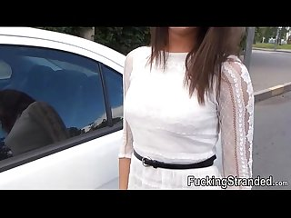 Slutty Hitchhiker teen foxy fucked and facialed in public