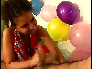 Ebony teen babe handjob