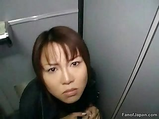 An asian girl is sitting on the toilet in the train from http alljapanese net