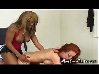 Interracial lesbian strapon sex