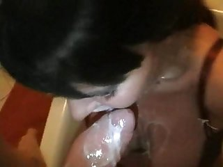 Nasty girlfriend sucks cum and milk