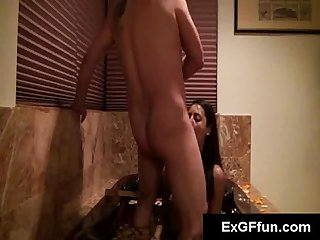 Delicious young brunette slut has her pussy fucked doggystyle in pov