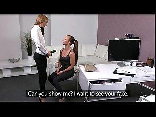 Brunette amateur sucks pussy on casting