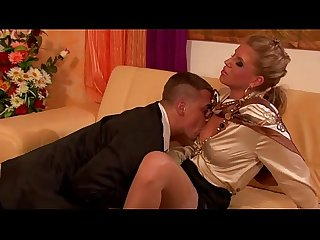 Clothed glamour euro couple blowjob and fuck