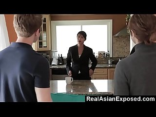 Realasianexposed dana vespoli gets double dipped and swallows cum