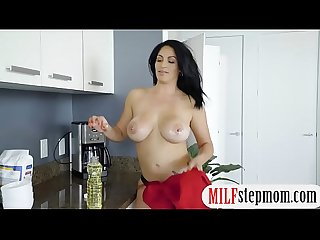 Stepson fucks his gf and busty stepmom