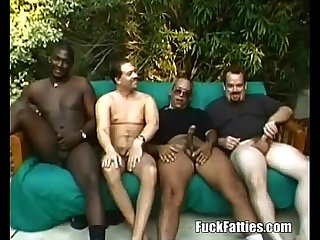 Fat chocolate slut in interracial Gangbang