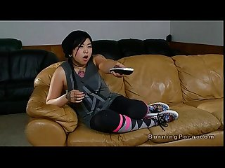 Tattooed Asian nanny fucked on leather couch