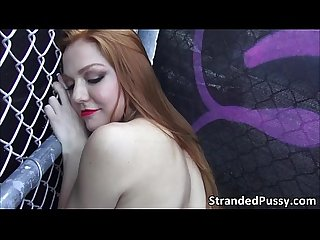 Damn horny redhead chick farrah gets doggystyle fucked outdoors