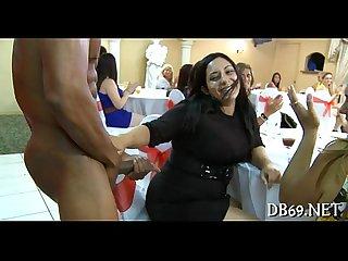 3 brunette slots engulfing dick