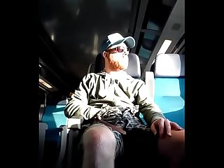 Horny ginger bear strips naked and cums in the train