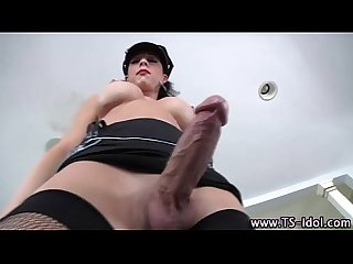 Glam shemale cums fucking ass