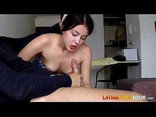 Colombian girlfriend blowing my huge cock