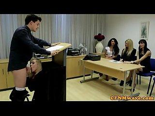 Cfnm voyeur gives a sneaky suckjob