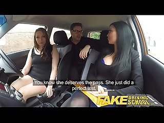 Fake driving school teacher fucks up the exam for his pert tits student