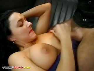 Hot backseat fuck on german street