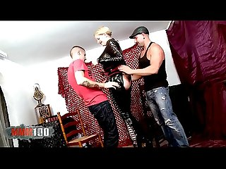 Big leather lady for two horny guys in the aftertnoon