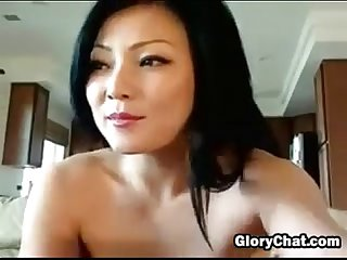 Dirty asian slut in fishnet stockings
