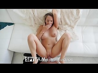 SpyFam Step mom Brett Rossi massages step sons huge dick