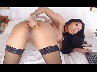 Hubpp com latina sex show with dildo pussy and anal sex black nylon stockings