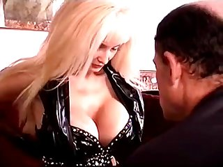 Hot big tits mistress with strapon