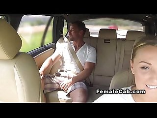 Fat cab driver gets huge cock in bacseat