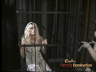 Skinny blonde wench lets her domina whip and spank her hard