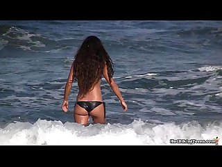 Topless bikini girls beach voyeur hd spy cam video