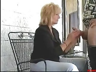 Milf mom fucks and sucks son in public