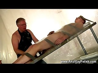 Sweet hot gay penis and Ass movies taped down twink drained of Cum