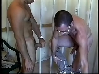 Horny cop bent over fucked in the ass against chair