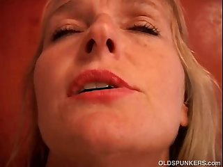 Mature blonde has nice big tits