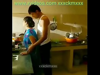 Mallu aunty and uncle hot romance a kitchen blue colour saree
