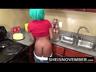 Sexy Ebony Big Tits Step Sister Msnovember Give Blowjob & Sex In Kitchen Cooking