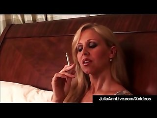 Busty blonde milf julia ann puffs on cigarette nude in bed